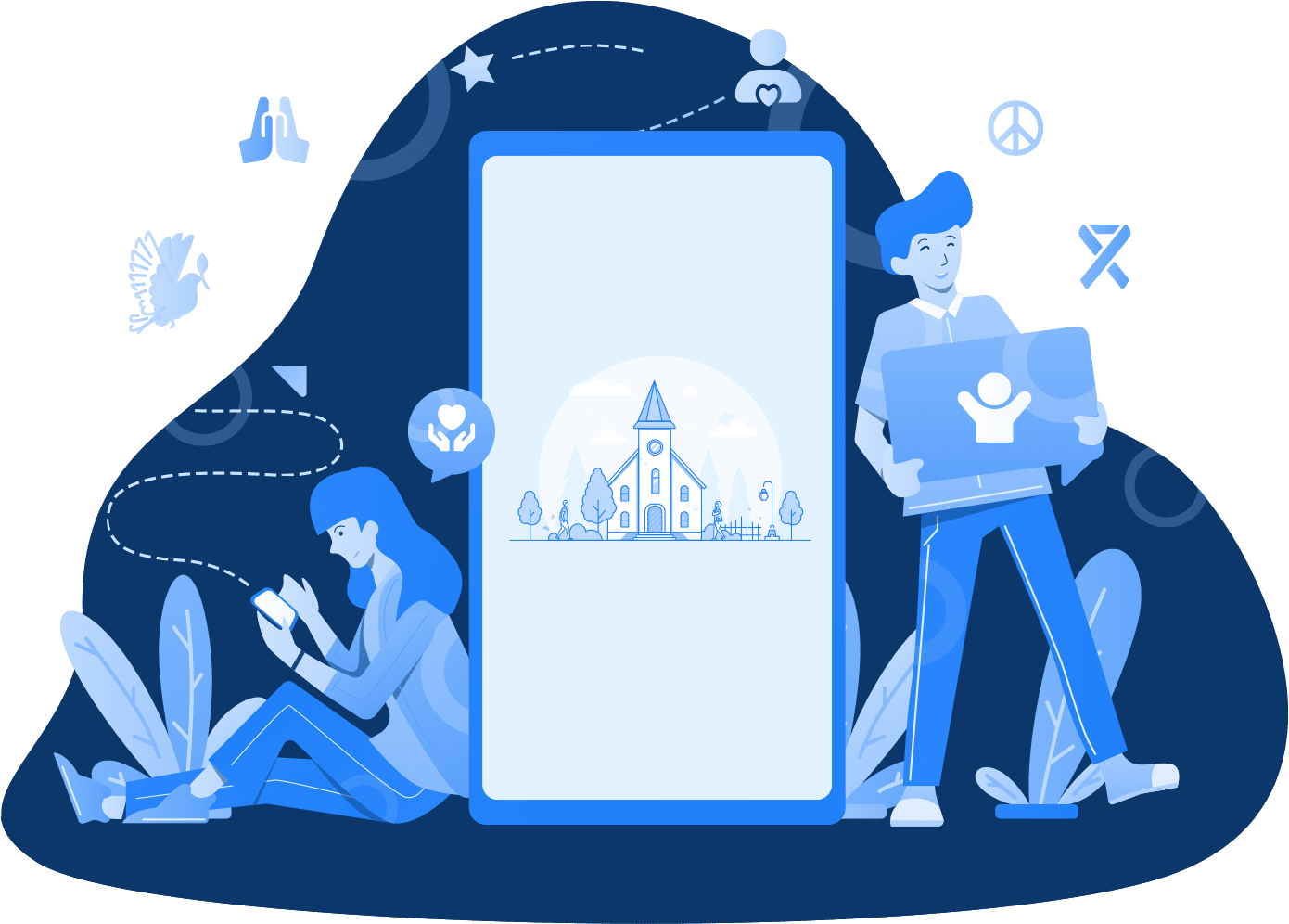 Team working with a mobile app