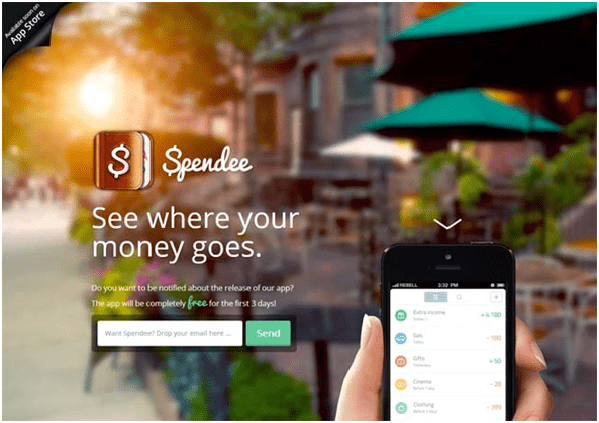 Landing Page - SpendeeApp mobile app builder