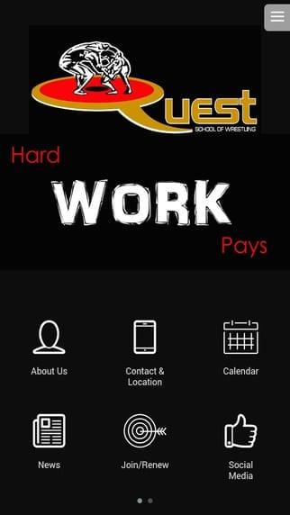 Quest Wrestling mobile app builder