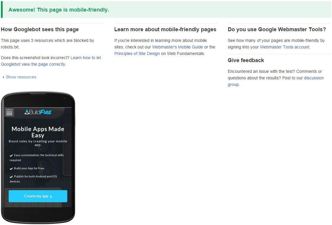 Mobile Friendly Checker mobile app builder