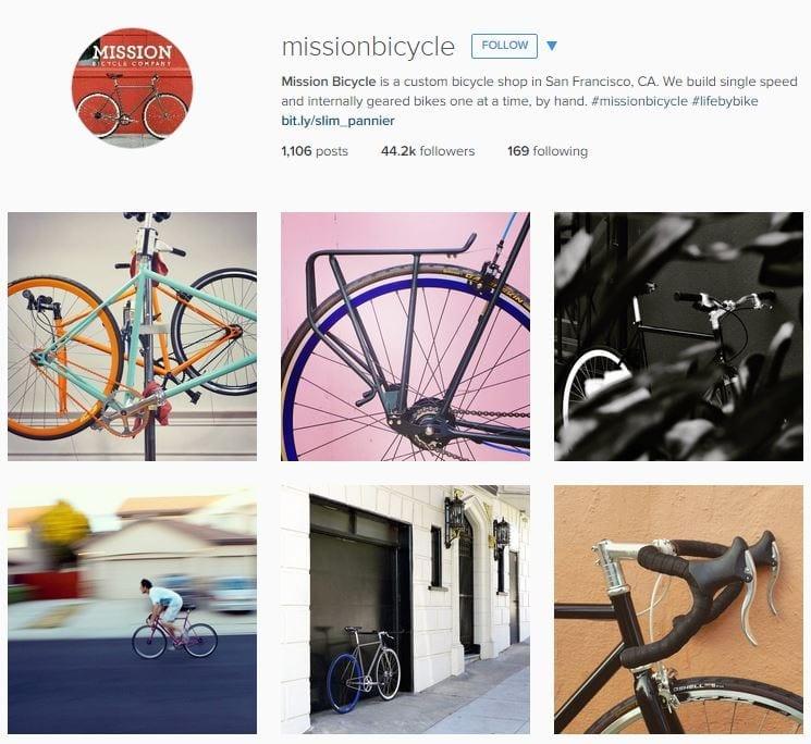 Image source: Mission Bicycles Instagram mobile app builder
