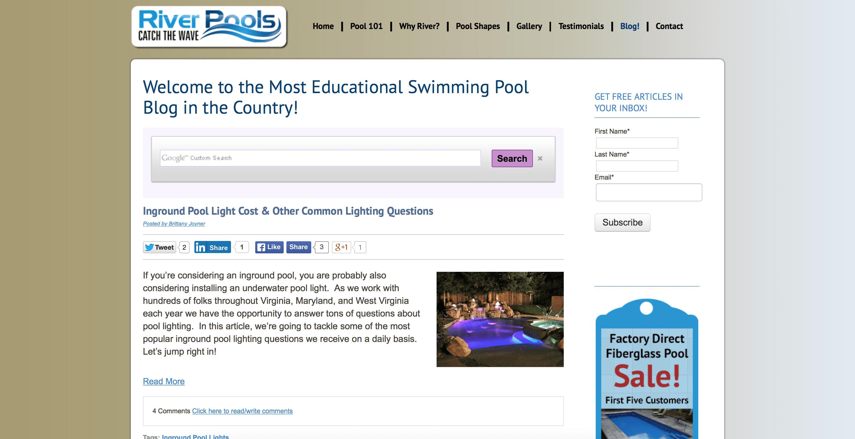 river-pools-spas mobile app builder