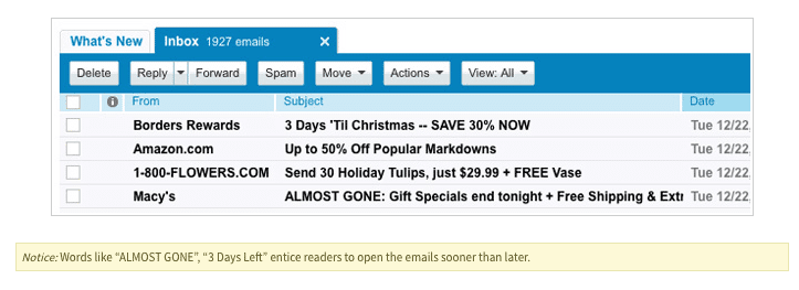 Urgency emails on subject lines
