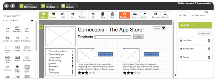 app wireframes and storyboards