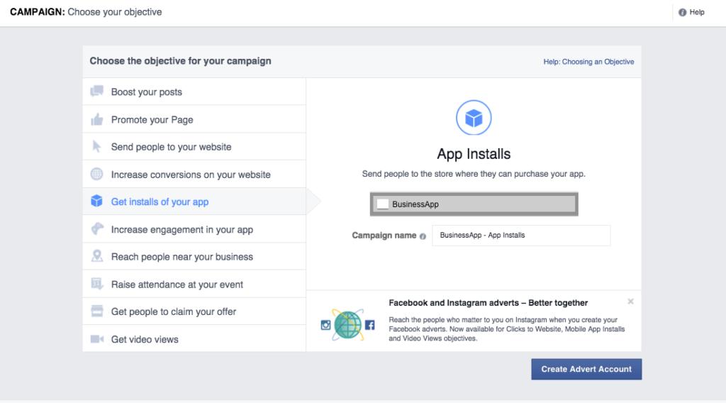 app promotion advert facebook