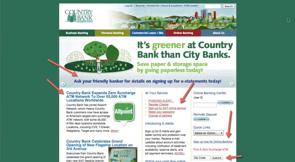 country bank above the fold 1 mobile app builder