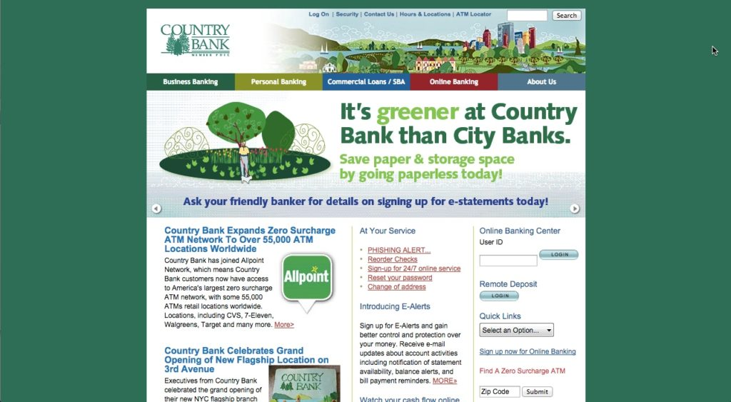country bank above the fold mobile app builder