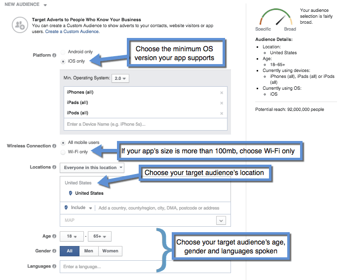 how to set ad targeting facebook on mobile