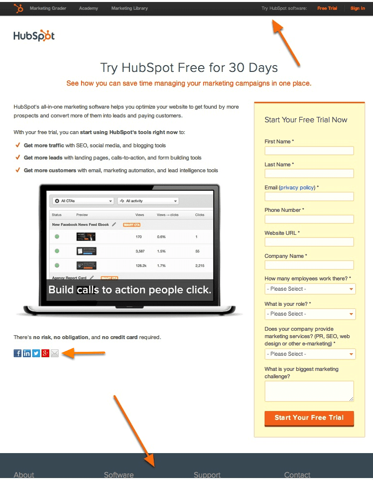 hubspot-free-trial-page-with-navigation