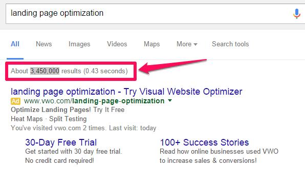 Google landing page search