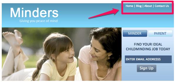 navigation menu site mobile app builder