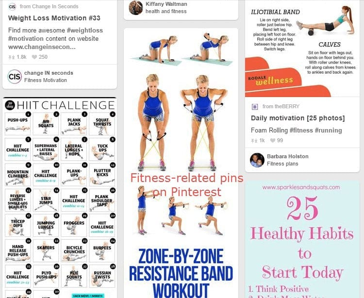 Pinterest-Fitness mobile app builder