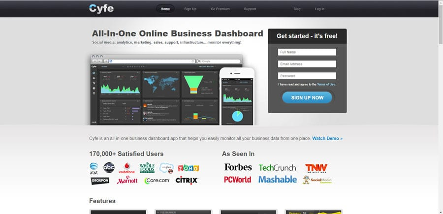 Cyfe helps monitor your business data from one place) mobile app builder