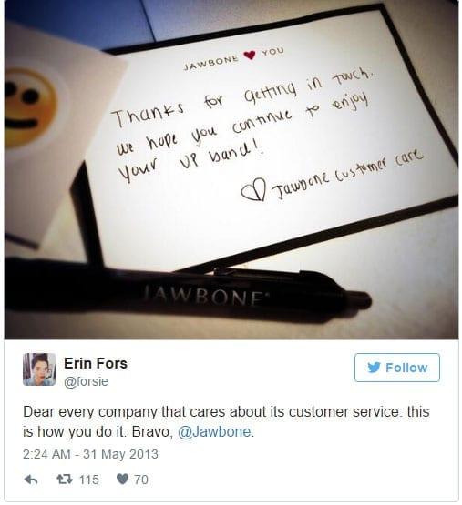 Handwritten note to customer