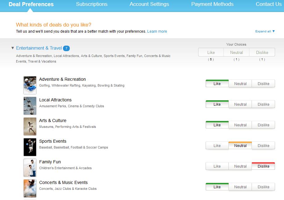 amazon local deal preferences mobile app builder