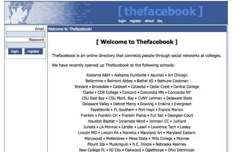 First Facebook homepage