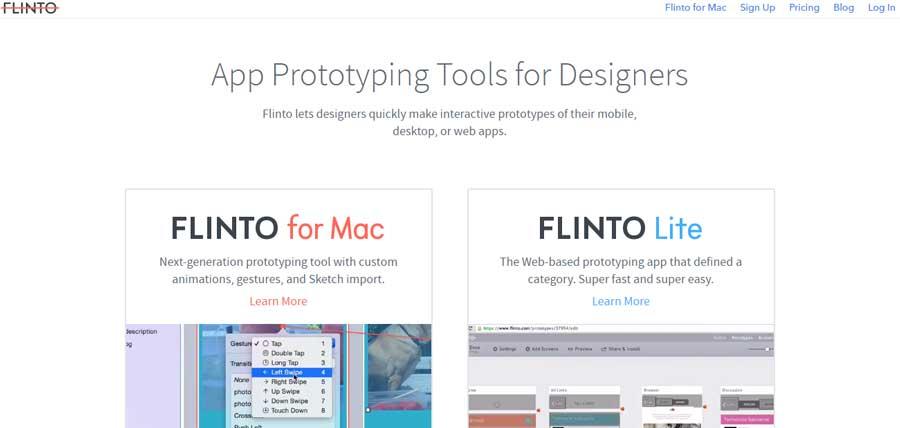 Flinto app prototyping
