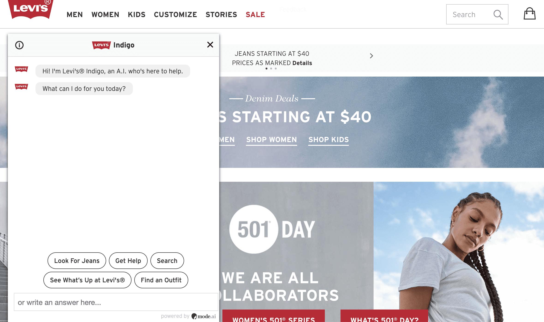 Levi's homepage